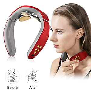 Nackenmassagegerät,Shiatsu-Nackenmassagegerät,Elektrisches Puls-Nackenmassagegerät, Elektrisches Nackenmassagegerät mit 4 Arbeitsmodi, drahtloses 3D-Reise-Intelligentes Nackenmassagegerät