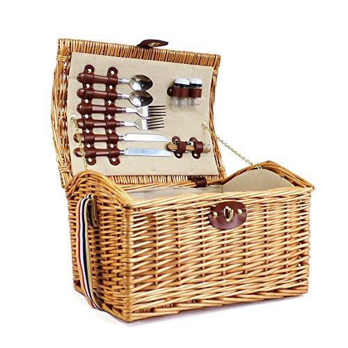 Weiden Picknickkorb 'Hampton' für 2 Personen - Geschenkidee zum Geburtstag, Jahrestag, Hochzeit, Ruhestand