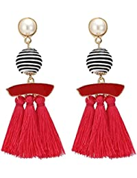 FemNmas Red Jewellery Stylish Thread Tassel Fancy Party Wear Long Earrings For Women & Girls