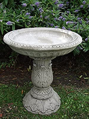 Ornate Bird Bath / Feeder Ornament Detailed Cast Stone Garden from Onefold