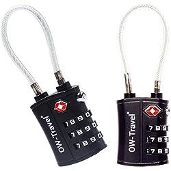 Cadenas Cable TSA pour Valise - Code à 3 Chiffres - ANTIVOL Titan pour Bagages, Casier Rangement, Locker - Serrure TSA Lock USA - Accessoire Voyage Avion: Verrou TSA a Combinaison 2 Pcs Noir