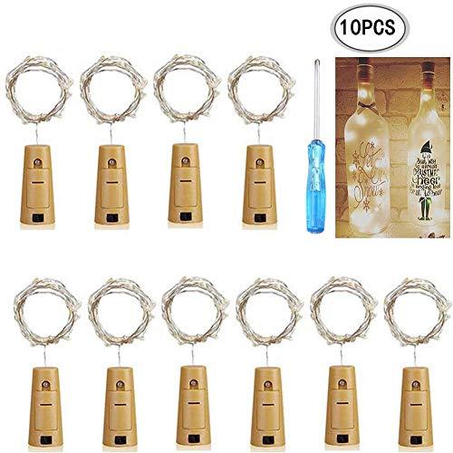 KB-SEVEN Led Flaschenlicht Korken, 2M Lichterketten Kork, Warmweiß, 10 Stück