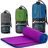 Fit-Flip Serviette en Microfibre - idéale comme Serviette de Bain Fonctionnelle, de Yoga, de Voyage et de Plage ou pour Le Nettoyage antibactérien du Visage et des Mains