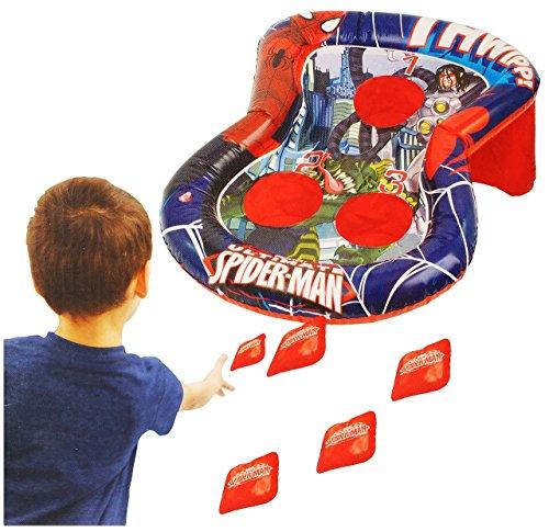"""Wurfspiel - """" Spider-Man """" - für Draussen & Drinnen - aufblasbar - Bean Bag Kugeln / Ballspiel - Bälle - für Kinder - Jungen - Spiderman - Partyspiel Kindergeburtstag - Geschicklichkeit & Motorik"""