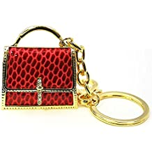 Glitter ☆ Croc print handbag key ring & bag charm Red