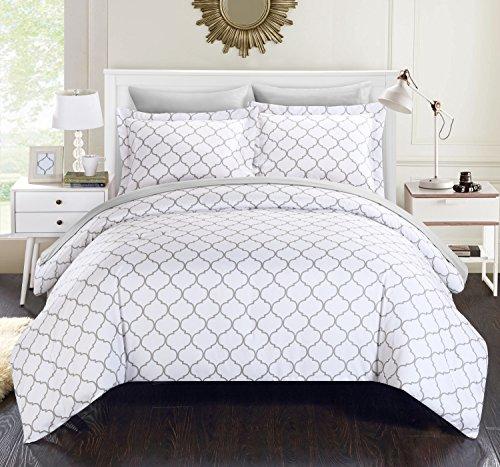 Chic Home 7Stück Heather Geometrische Diamant Bedruckt wendbar King Bett in einem Beutel Tröster Set, grau mit Bogen Set, Mikrofaser, grau, King Size
