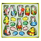 Set of 18 Mini Wooden Easter Decorations - Eggs & Chics