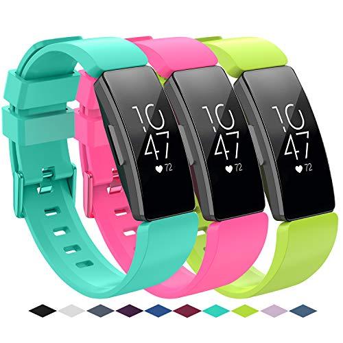 KingAcc Kompatibel Fitbit Inspire,Inspire HR Armband, Weiche Silikon Ersatz Armbänder Armband für Fitbit Inspire, Metall Schnalle Fitness Armband Uhrenarmband Frau Männer (3-Pack, Series E,Groß) -