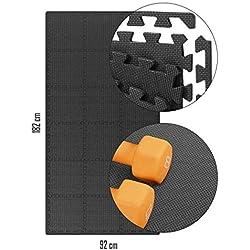 Tapis de sol - 18 dalles de mousse sans BPA + bordures | Matelas puzzle pour fitness, gymnastique - Salle de sport, garage | Isolation contre les chocs, le bruit, les rayures (18 pièces)- 30x30x1cm