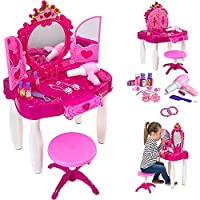Girls Glamour Mirror Makeup Dressing Table Stool Playset Toy Vanity Light & Music Great Christmas XMAS Gift New
