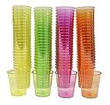 Shine 72/100 Einweg Kunststoff Farbige Oder Klare Party Schnapsglas Wesentliche Party Cup (72- Farbig)