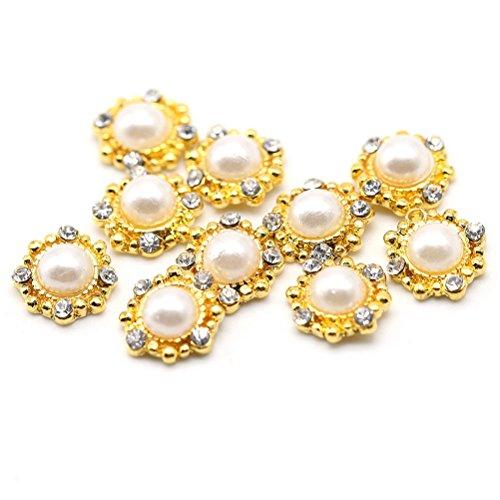 Five Season 10 pcsBling Decoration Perles Cristal Accessoire Alliage Nail Art Manucure Forme Miroir, 1*1cm, Or*Blanc