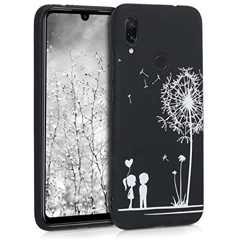 kwmobile Funda para Xiaomi Redmi Note 7 / Note 7 Pro - Carcasa de TPU para móvil y diseño de niños y Diente de león en Blanco/Negro