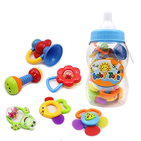 Wishtime Baby's First Rattle and Teether Toy 9 Pieces with Giant Baby Bottle Coin Bank Gift Sets- Colors May Vary by Wishtime