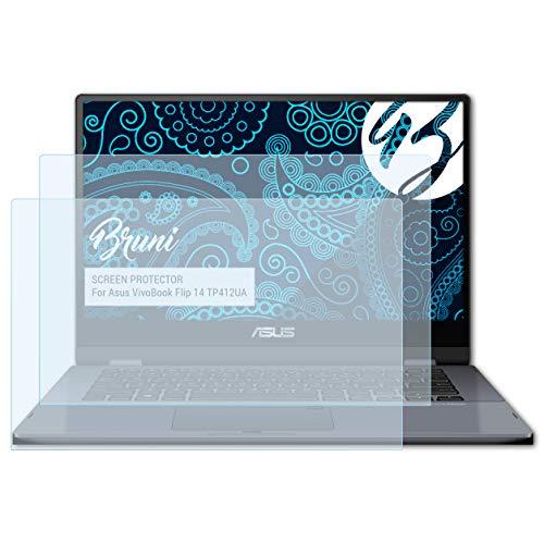 Bruni Schutzfolie kompatibel mit Asus VivoBook Flip 14 TP412UA Folie, glasklare Bildschirmschutzfolie (2X)