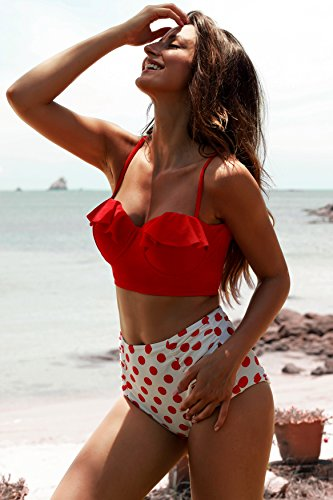 EasyMy Frauen Vintage Hohe Taille Polka Dot Bottom Bikini Set Strap Push Up Badeanzug -