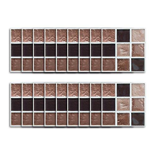 DMMASH Fliesen Aufkleber Scrub Brown Marmor Mosaik Wasserdicht Aufkleber Küche Badezimmer Wohnzimmer Hintergrund Küche Backflip Fliesen Aufkleber (Fliesen Marmor Brown)