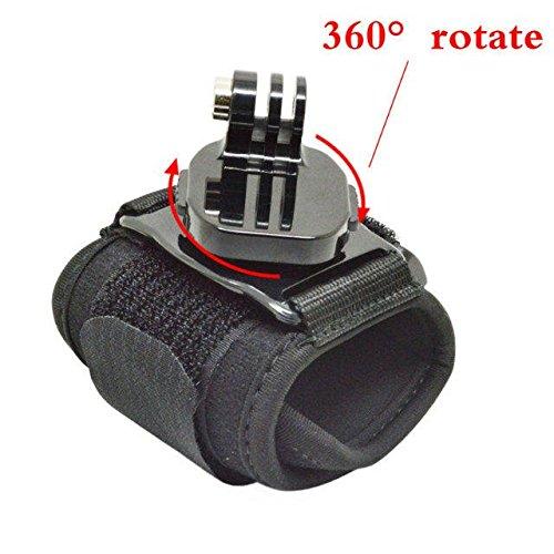 Goliton 360-degree rotativo e pieno di tipo surround a cinghia da polso, per gopro eroe 4s / 4/3 + / 3/2/1 / sj / piccole formiche e tutte le serie macchina fotografica di sport.