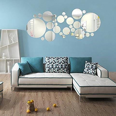 3D Miroir Stickers muraux, Yogogo Miroir Acrylique Rond  Autocollant de mur de fond Décoration de chambre à coucher