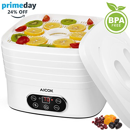 Dörrautomat BPA Frei, Aicok Dörrgerät mit Temperaturregler von 35-70 Grad Celsius, 5 Etagen Dörrapparat Obsttrockner mit 72 Stunden Zeitschaltuhr, Inkl. Rezeptheft, 240 Watt, Weiß