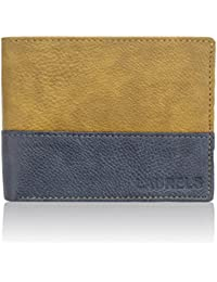 Laurels Men's Diplomat Wallet (Blue and Beige, LW-DIP-0603)