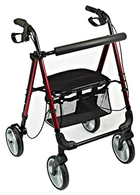 NRS Healthcare M87719 Lightweight Four Wheeled Rollator with Seat - FOLDABLE & ADJUSTABLE (Eligible for VAT relief in the UK)