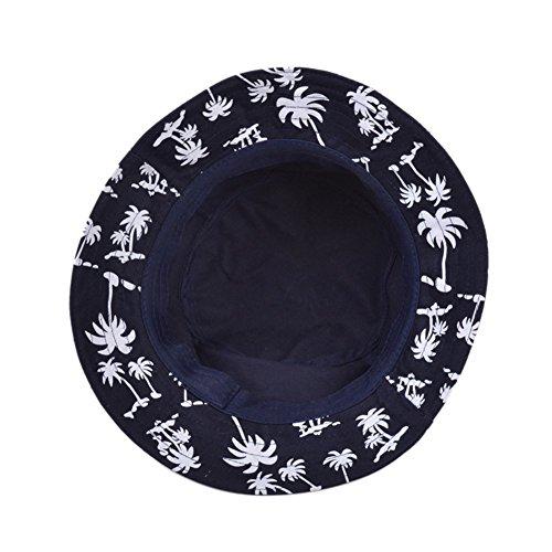 TININNA Femmes Pêche Cocotier Pattern Estivale Pliable De Chapeau De Coton Soleil Capitalisation Du Chapeau Printemps Été Navy