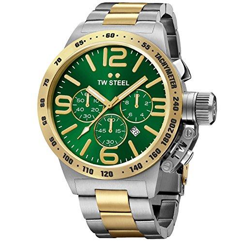 TW Steel Canteen pulsera amarillo chapado en oro verde reloj de hombre de cuarzo cronógrafo CB63
