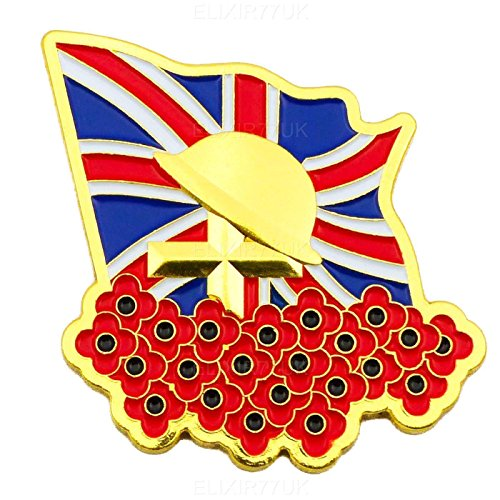 NEW LARGE UNION JACK FLAG GOLD CROSS RED POPPY LAPEL PIN ENAMEL