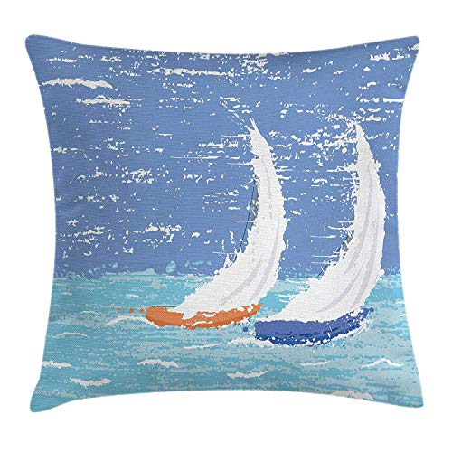 EUEI Nautical Decor Throw Pillow Cushion Cover, Grunge Style Image of Two Racing Sailboats in A Windy Ocean Water Print, Decorative Square Accent Pillow Case, 18 X 18 Inches, Light Blue -