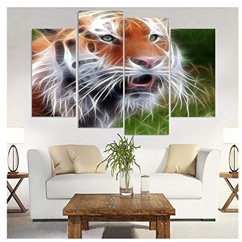chtshjdtb 4 Panel Leinwand Kunst Leinwand Malerei Comic Tiger Gesicht HD Gedruckt Wandkunst Poster Home Decor Bild für Wohnzimmer Room-30x60 30x80 cm Kein Rahmen