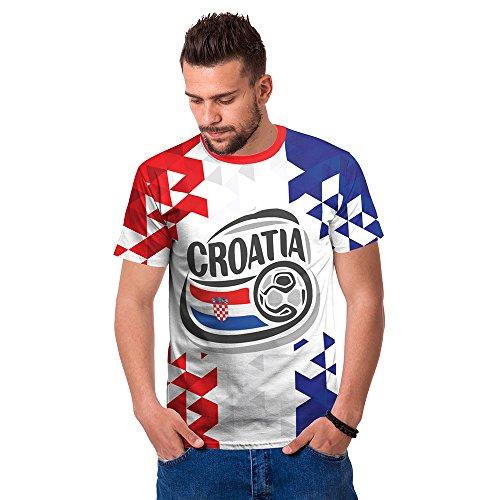 Ziwater WM 2018 Shirt Deutschland Fußball Trikot Weltmeisterschaft Germany World Cup Fanfest Fan-Shirt Herren 3D (Croatia-blau-2XL)