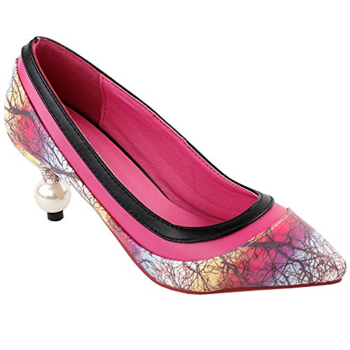 Show Story rosa schwarz zweifarbig bunte Muster Stiletto Heels Braut Abend Spitzen Zehen Perle Heel Pumps, LF60415HP40, 40EU, rosa