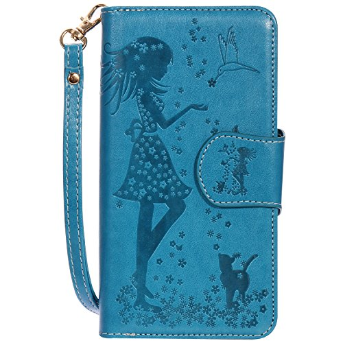 JIALUN-étui pour téléphone Avec la fente de carte, Lanyard, pression Belle Pattern Fashion Open Cell Phone Shell pour IPhone 7 Plus 5.5 pouces ( Color : Red , Size : IPhone 7 Plus ) Blue