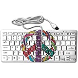 Peace, Love & Rock'n Roll 78 Keys Wired USB Mini Slim Keyboard For Pc Computer Laptop