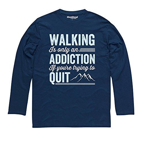 Walking Addiction Langarmshirt Funny Novelty Gift, Herren Dunkelblau
