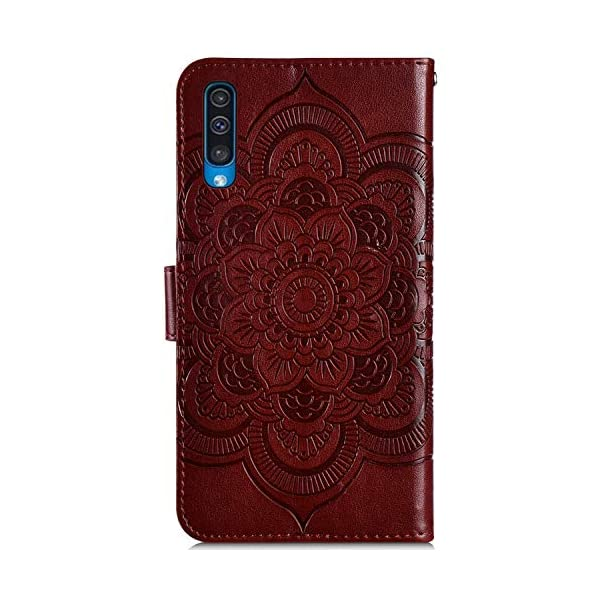 Uposao Compatible with Samsung Galaxy A50 Wallet Case Cute Mandala Flower Embossed Leather Wallet Flip Case Shockproof Protective Phone Cover with Kickstand Magnetic Card Holder,Brown Uposao Compatible Model:Samsung Galaxy A50 Package:1 x Wallet Case Cover,1 x Black Stylus Touch Pen Precision incision: Precise and Active-easily access to all ports, sensors, speakers, cameras and all Phone features.Change the volume, answer a call, charge your battery, take a picture, and listen to music without ever having to open your case 7