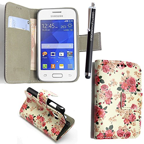 GSDSTYLEYOURMOBILE {TM} Samsung Galaxy Ace Style SM-G310 PU LEDER LEATHER FLIP CASE COVER HÜLLE ETUI TASCHE SCHALE + STYLUS (Roses on White Book)