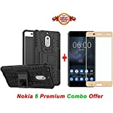 Nokia 6 (COMBO OFFER) Hybrid Armor Design Detachable And Kickstand Feature Dual Layer Protective Shell Hard Back Cover Case Nokia 6 ( Black ) + 2.5D Curved 3D Edge To Edge Full Screen Tempered Glass Mobile Screen Protector - - - ( Gold ) BY Shoppingmonk
