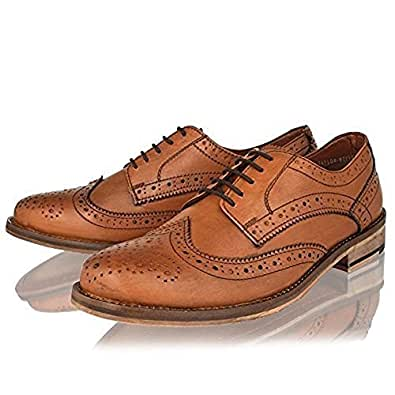 MENS LEATHER FORMAL SHOES BLACK TAN SMART OFFICE OXFORD BROGUES SIZE 6-12 (10, TAN)