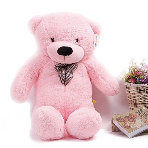 YunNasi 120 cm Riesige Teddybär Kuscheltier Puppe mit Eleganter Schleife Pink