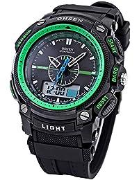 OHSEN LCD Dual Core para hombre Mujer Deporte Fecha Día verde cronómetro Negro Goma Reloj de regalo