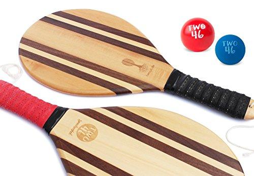 Traditionelles Frescobol-Set von two46 | Hochwertiges Beachball-Schläger Set aus Holz für Matkot & Beachtennis | +Gratis Baumwolltasche zum Set