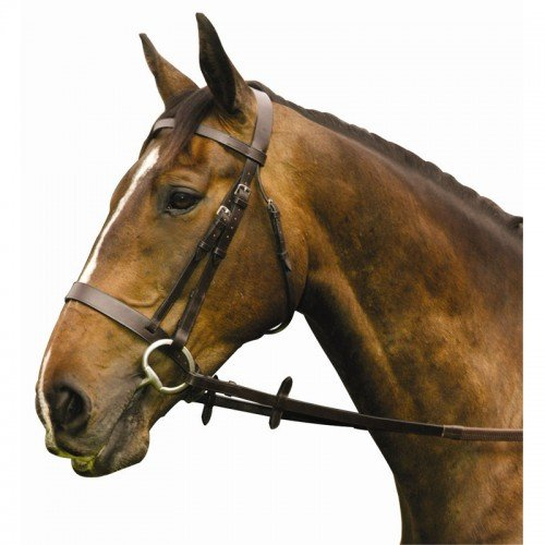Economy Hunt / Show (flat browband) Bridle With Rubber Grip Reins, Colour: Havana (Brown), Size: Cob (Havanna- Braun, Cob)