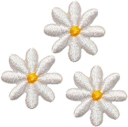 alles-meine.de GmbH 9 Stück _ Bügelbilder -  kleine Blüten - weiß  - 2 cm * 2 cm - Aufnäher & Applikationen - gewebter Flicken - Bügelflicken / Hosenflicken - Bügelsticker - Bl.. -