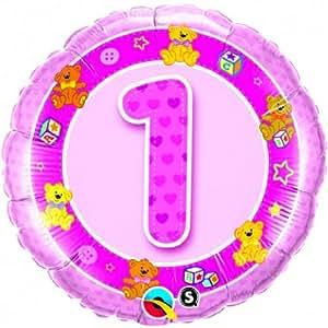 Ballon 1 an nounours rose à l'unité