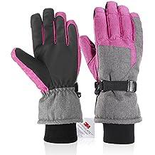 Fazitrip 3M Thinsulate Guantes, cortavientos & impermeable Guantes de mujer, función como unidad – Guantes de esquí, ciclismo guantes, guantes o otros deportes en invierno, color negro, tamaño (Pink/Gray, S/M)