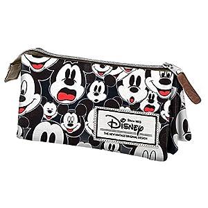 Mickey y sus amigos–Estuche escolar Triple Vintage Black Mickey Mouse Disney