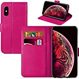 iPhone Xs Max Case, iPhone Xs Max Book Case, iPhone Xs Max Wallet Case [Flip Case] [PU Leather Case] [Card Holder Case] [Card Slot Case] [Drop Proof Case] [Card Holder Case] [Shockproof] (PINK)
