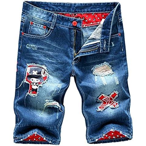 Gillbro hombres Pantalones cortos Slim Fit Denim lavadas rasgados